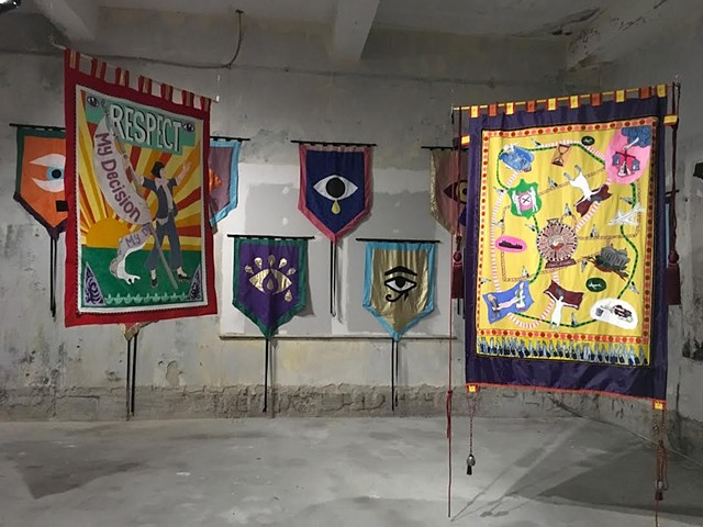 Eye Bannerettes and ACREA Banners by Alice Maher, Breda Mayock, Rachel Fallon  38th EVA International Biennale Limerick April - August 2018