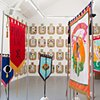 Eye Bannerettes and ACREA Banners by Alice Maher, Breda Mayock, Rachel Fallon and Sarah Cullen at Kunsthaus Rhenania, Cologne, curated by Anne Magher. Also at La Criee Centre D'Art Contemporain, Rennes France    photo by Sevaan Drennes