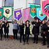Eye Bannerettes carried by students of Burren College of Art, waiting for the Repeal! Procession to begin photo Karl Leonard