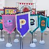 Eye Bannerettes and ACREA Banners by Alice Maher, Breda Mayock, Rachel Fallon and Sarah Cullen at The Gates exhibition, Talbot Rice Gallery, Scotland curated by Tessa Goblin  photo by Sevaan Drennes
