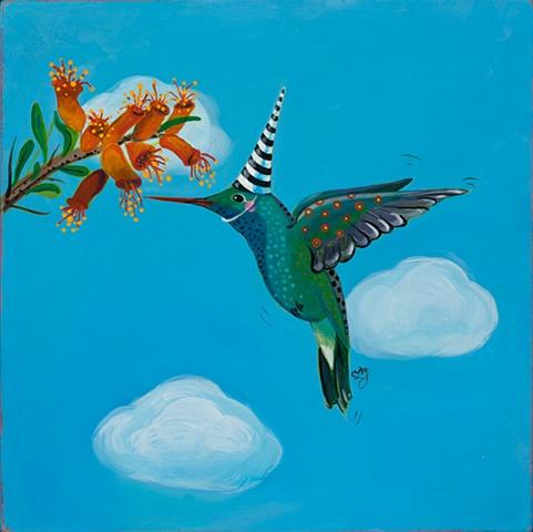 humming bird folk art