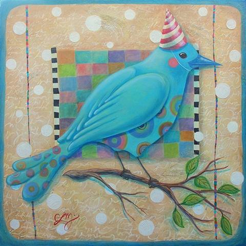 blue bird patterned folk art