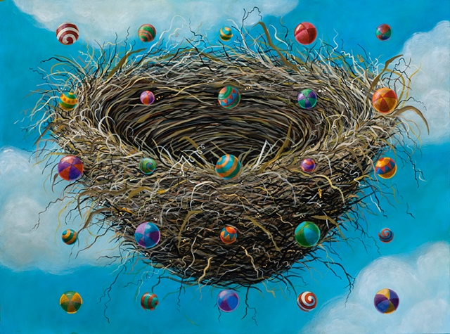 colorful balls float and spin over a large floating nest in acrylic painting by Chris Miroyan