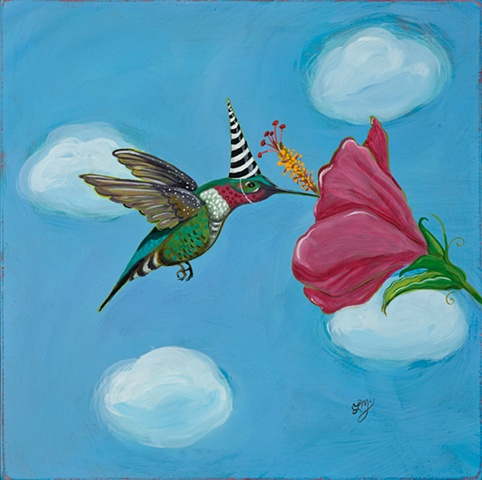 folk art humming bird party hat