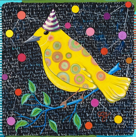 bird folk art, pattern, colorful chalkboard background floating balls interconnectedness with nature acrylic painting by chris miroyanpainting