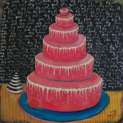 big pink layer cake painting CHRIS miroyan