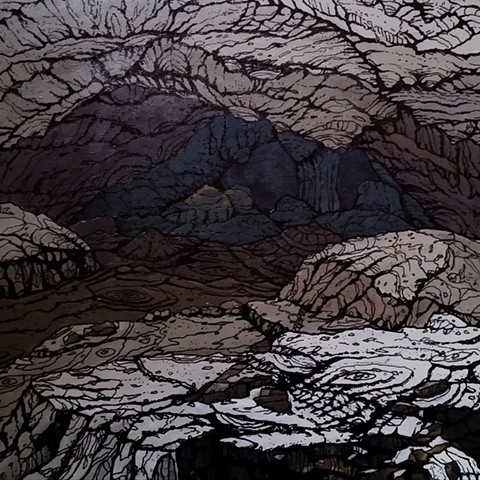cave, mountain, drawing, painting, emerging artist, chris hernandez, fine art, realism