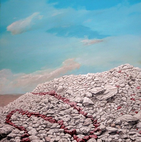 rocks, stones, desert, pile, stacked, rockpile, nature, pattern, art, artwork, artist, acrylic, painting, chris hernandez