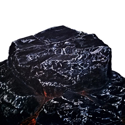 coal, painting, canvas, contemporary artist, contemporary art, rocks, rockpiles, chris hernandez artist, chris hernandez artwork, representational painting, representational art