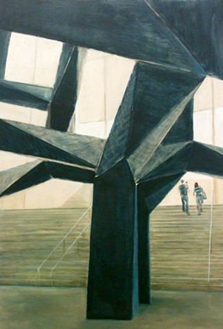 Tony Smith's monumental sculpture titled Smoke located in Los Angeles County Museum of Art's Ahmanson Pavilion, Katrina J. Murray, Painting, California