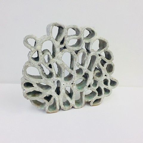 Ceramic, slab built, KatrinaJ. Murray, Sculpture, white Coral
