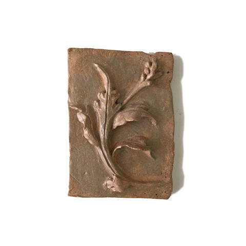 Acanthus leaves and flower, low relief, architechtural detail, ceramic, Katrina J Murray