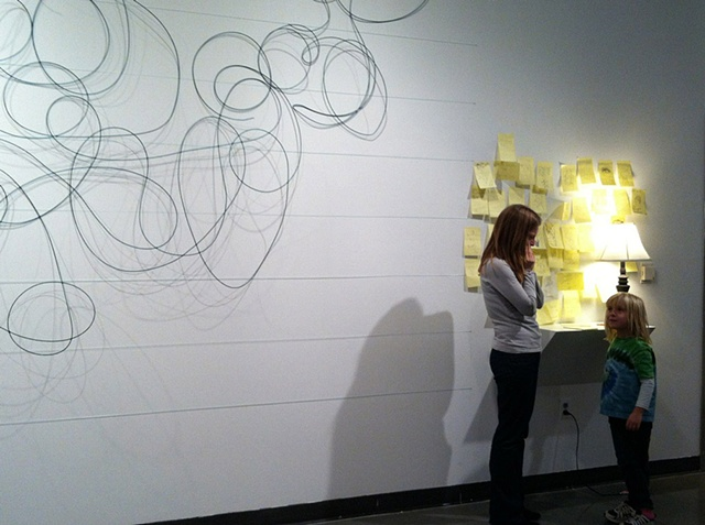 scribble, desk, post it notes, wire, paper, fishing line, Herron Marsh Gallery, Material Muse, Nov. 2011