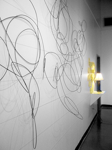 instalation art, scribble, desk, post it notes, wire, paper, fishing line, By Katrina Murray,  Photo courtesy of Katelin Kenny