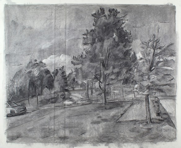 Chambersburg Parking Lot Charcoal on Paper 27 x 32 2016