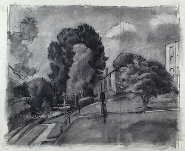 Park Crest Parking Lot Charcoal on Paper 27 x 32 2016