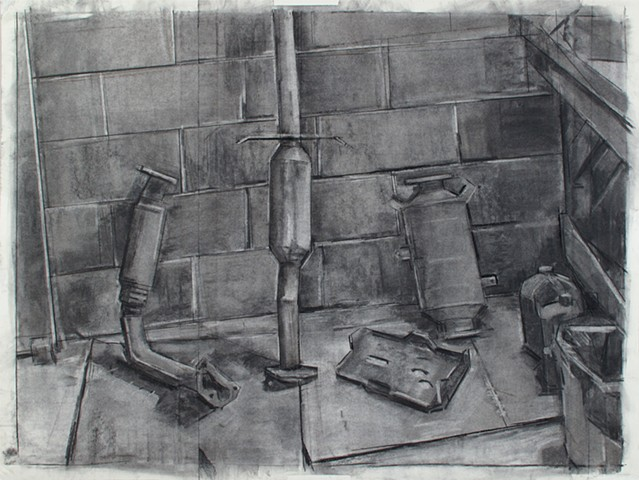 Parts Wall Charcoal on Paper 26 x 31 2017