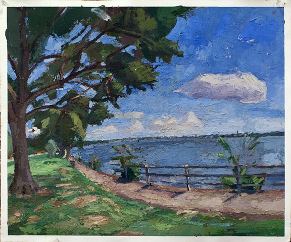 East Potomac Park, Large Oil on Paper 19 x 25 2015