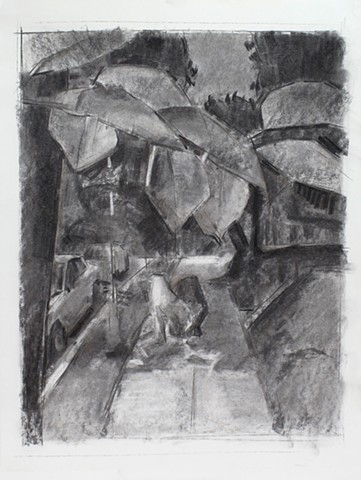 Kat and Gus, 39th Street Charcoal on Paper 24 x 18 2016