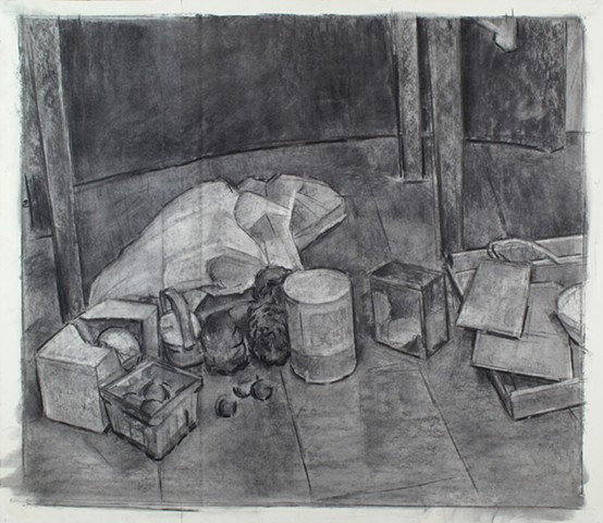 Chambersburg Still Life, Bottom Charcoal on Paper 26 x 30 2016