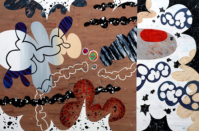 Abstract Paintings Inspired by Animated Film and Medical Illustrations
