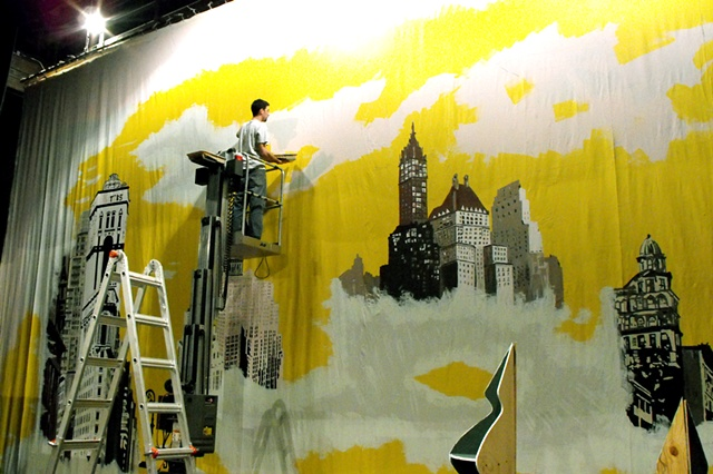 """Miracle on 34th Street""   Hand painting the back drop"