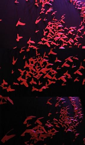 """""""Macbeth""""  Paper cut birds on backdrop detail"""