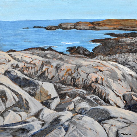 acrylic landscape painting of a rocky east coast shore by Canadian artist, Janet Moore