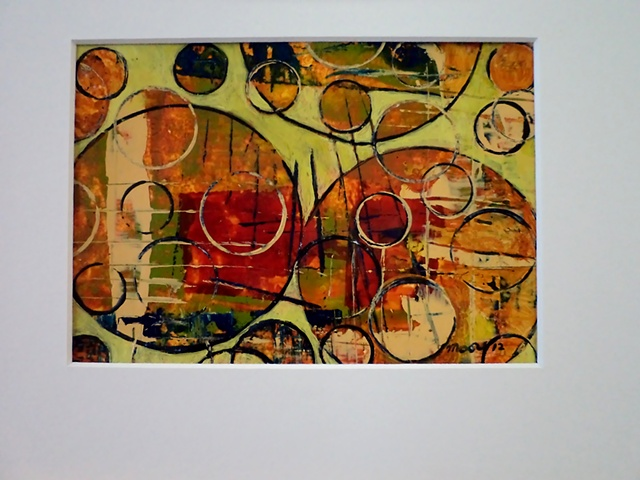 acrylic monoprint painting titled, Rounding Spot Green  #1  by Canadian artist, Janet Moore