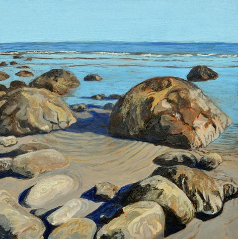 acrylic landscape painting of rocks and rippled sandy beach along the Atlantic Ocean by Canadian artist, Janet Moore