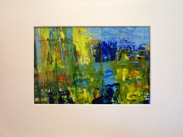 acrylic abstract landscape monoprint painting titled, Spring Pond #3, by Canadian artist, Janet Moore