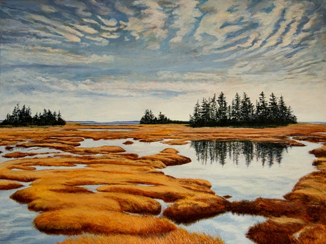 Acrylic landscape painting of a salt marsh along the atlantic Ocean in Nova Scotia by Canadian artist, Janet Moore
