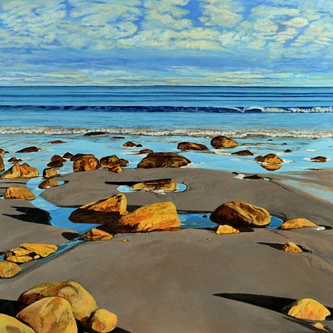 acrylic landscape painting of rocks, waves, shadows and rippled sand on a beach along the Atlantic ocean by Canadian artist, Janet Moore