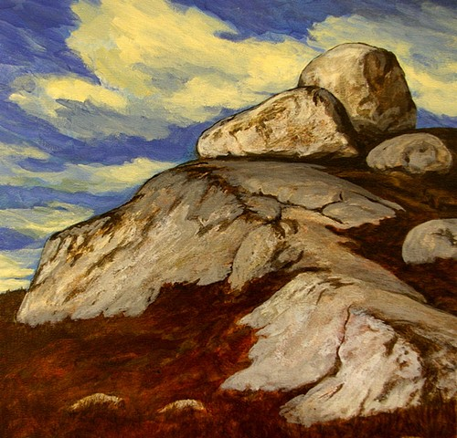 "landscape painting titled, Whalesback Rocks #2,  by Canadian Artist Janet Moore on 3/4"" deep primed canvas, that is painted around edges and ready to hang. 12"" x 12"""