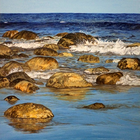 Landscape painting titled, Roseway Beach Rocks #1, by Canadian artist, Janet Moore