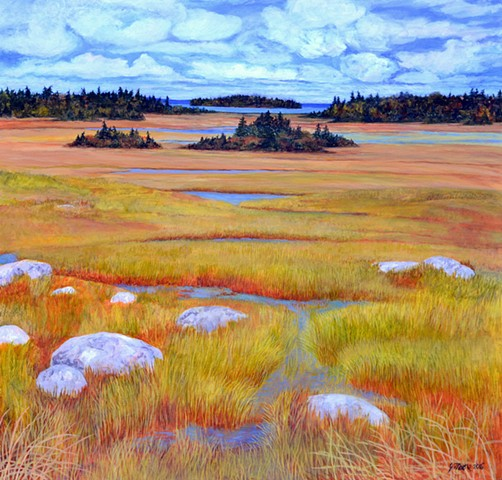 acrylic landscape painting of a salt marsh along the south shore of Nova Scotia by Canadian artist, Janet Moore.