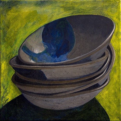 still life acrylic painting - stack of six ceramic bowls