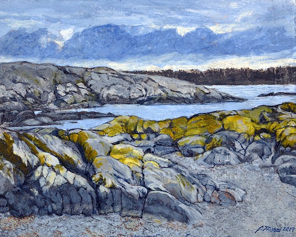 acrylic landscape painting of ocean shorelineby Canadian artist, Janet Moore