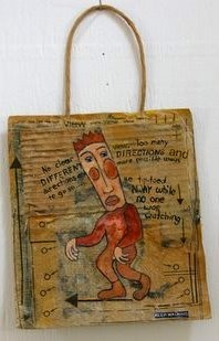 mixed media, collage, acrilic, brown paper bag, brown cardboard