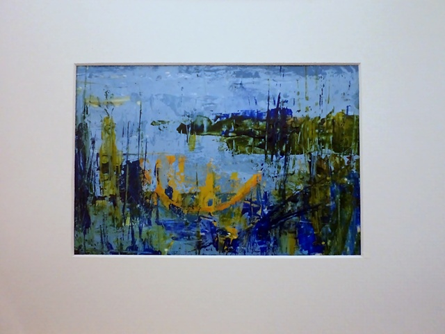 an acrylic monoprint abstract landscape painting titled, Spring Pond #4, by Canadian artist, Janet Moore