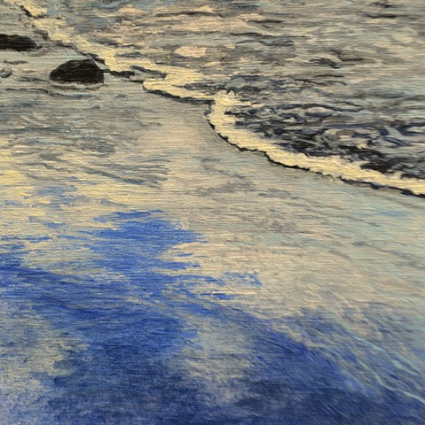 Acrylic landscape painting of the sky reflection in wet sand at the ocean shoreline where water meets sand, by Canadian artist, Janet Moore.