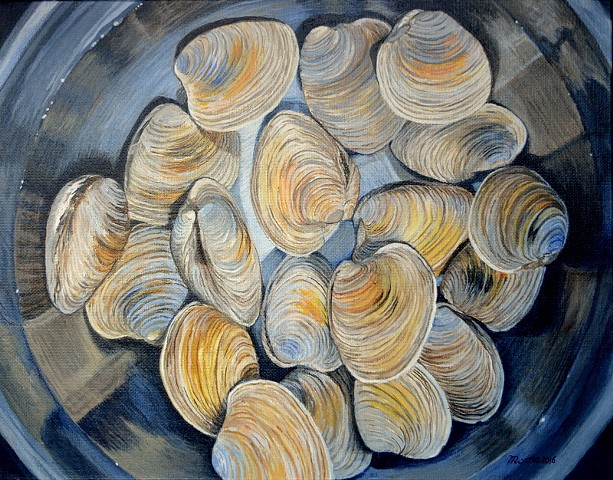 acrylic still life painting of clams soaking in a stainless steel bowl by Canadian artist, Janet Moore