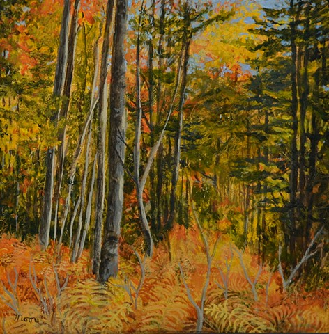 Acrylic landscape painting of the autumn colored forest by Canadian artist, Janet Moore