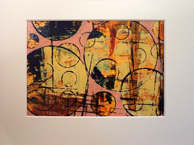 acrylic  monoprint/painting titled, Rounding Spot Pink #1 by Canadian artist, Janet Moore