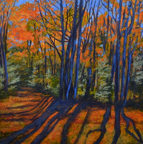 acrylic landscape painting of long shadows cast by autumn colored trees by Canadian artist, Janet Moore
