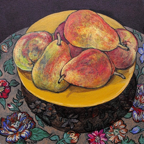 acrylic still life of pears painting by Canadian artist, Janet Moore