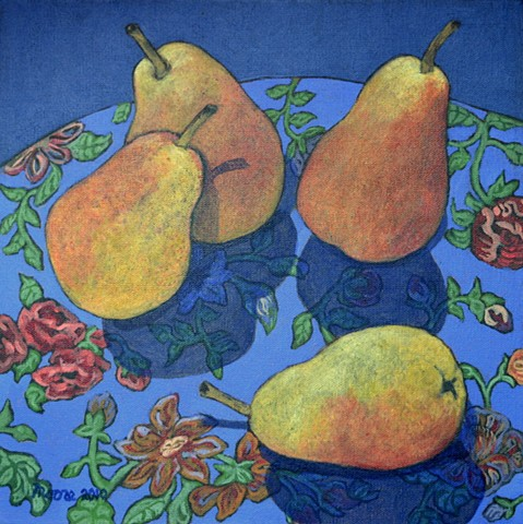 acrylic still life  painting of pearsby Canadian artist, Janet Moore