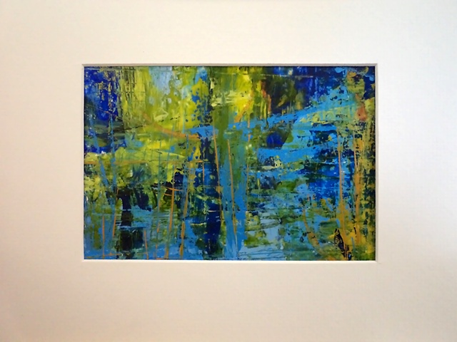 acrylic abstract landscape monoprint painting, titled, Spring Pond #5, by Canadian artist, Janet Moore