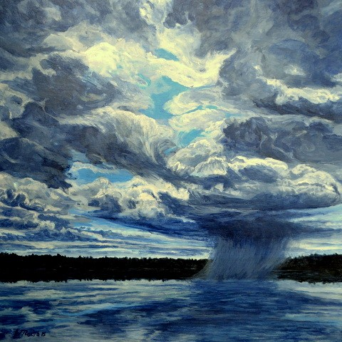 landscape painting of ocean, storm, squal approaching and big sky