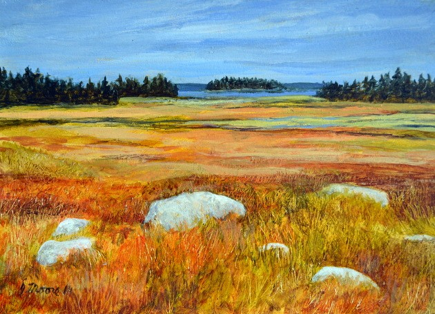 Small acrylic landscape painting of a salt marsh along the south shore of Nova Scotia by Canadian artist, Janet Moore.